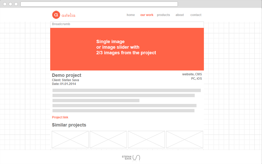 Astelia wireframe project details